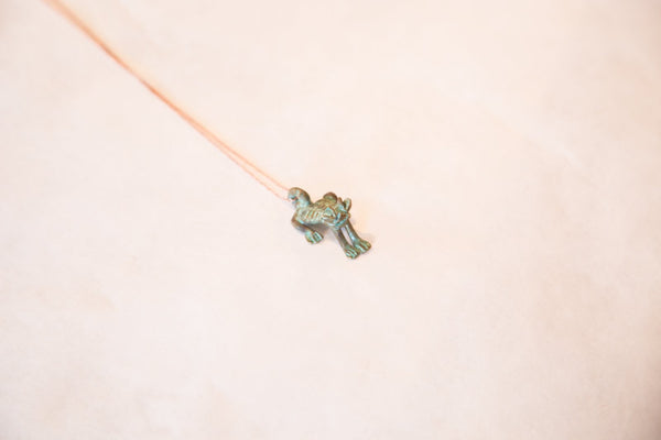 Vintage African Blue Oxidized Frog Pendant Necklace