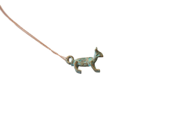 Vintage African Blue Oxidized Fox Pendant Necklace