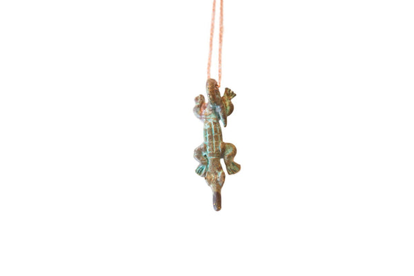 African Oxidized Crocodile Pendant Necklace