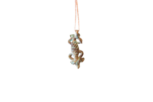 Vintage African Oxidized Lizard Pendant Necklace