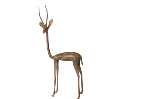 Vintage African Large Bronze Left Facing Gazelle Figurine