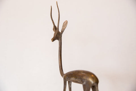 Vintage African Large Bronze Left Facing Gazelle Figurine Image 1