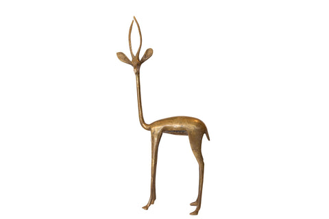 Vintage African Large Golden Bronze Left Facing Gazelle Figurine