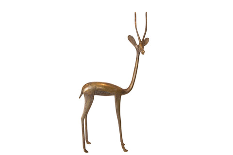 Vintage African Tall Bronze Right Facing Gazelle Figurine