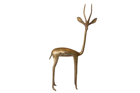 Vintage African Large Bronze Right Facing Gazelle Figurine