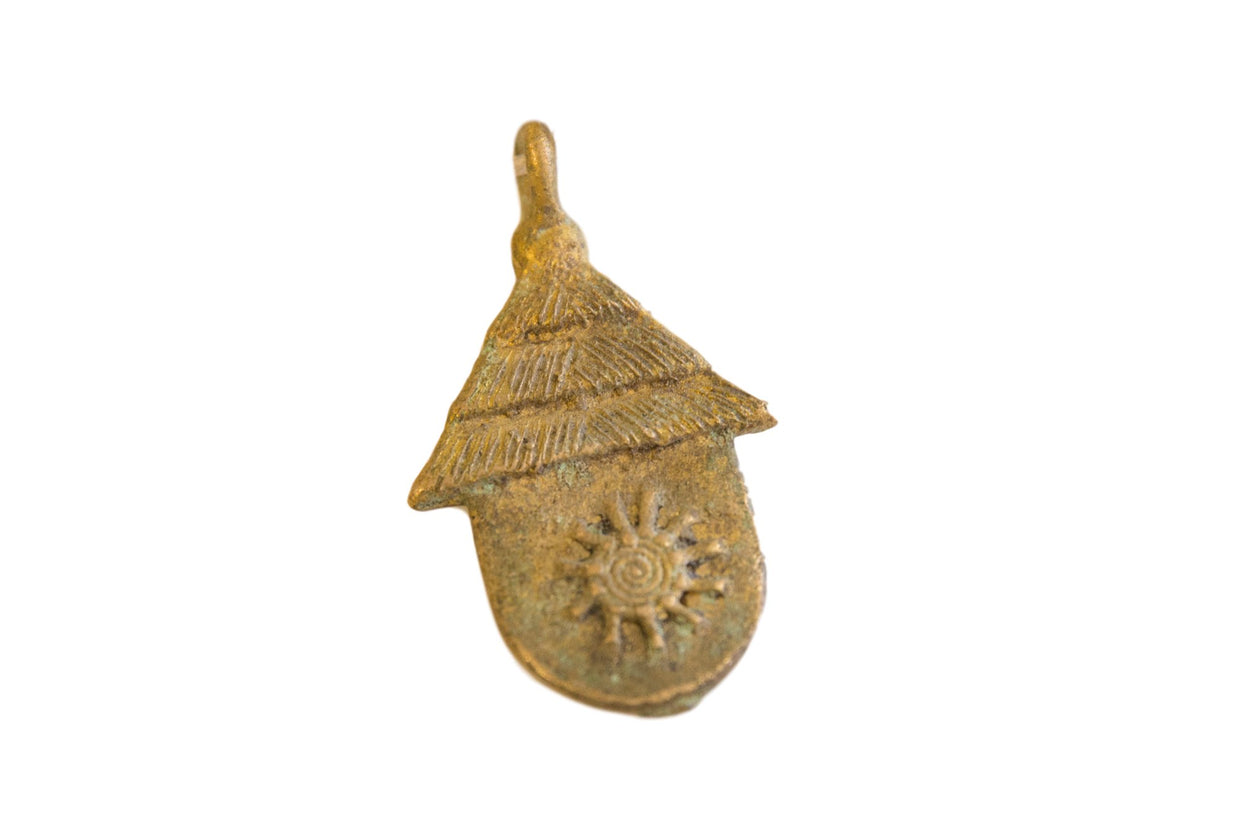 Vintage African Bronze Hut with Sun Design Pendant // ONH Item ab00638