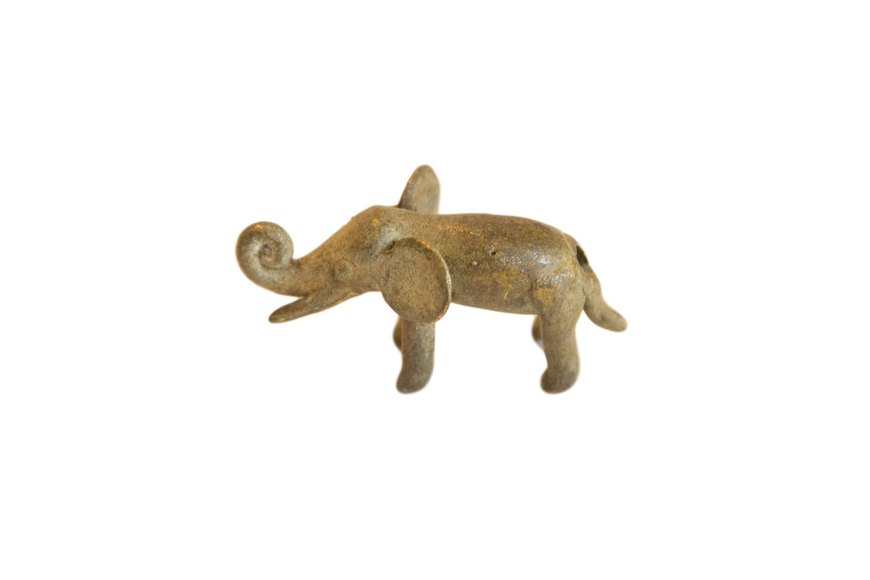 Vintage African Bronze Trunk Curled Up Elephant // ONH Item ab00700