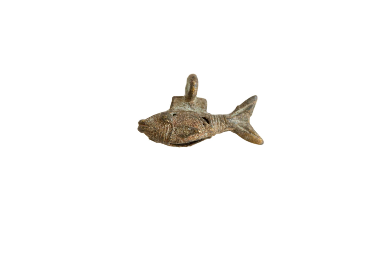 Vintage African Bronze Tiny Wire Design Fish Pendant // ONH Item ab00798
