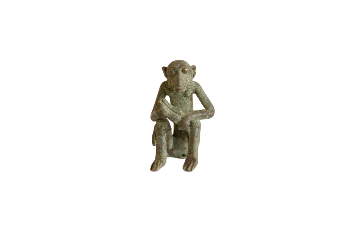 Vintage African Oxidized Bronze Sitting Monkey with Banana // ONH Item ab00920