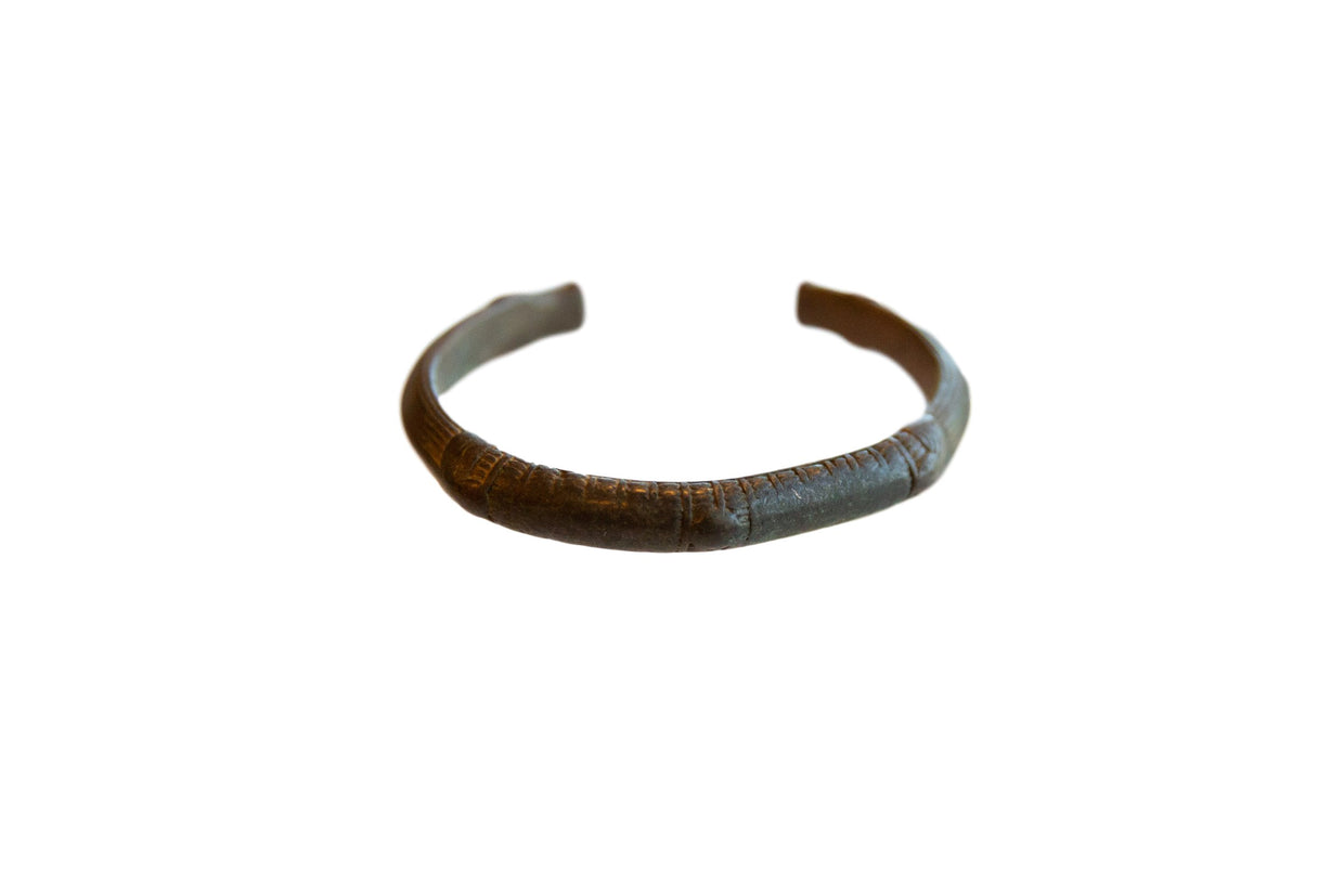 Vintage African Bronze Cuff Bracelet with Faded Detailing // ONH Item ab01064