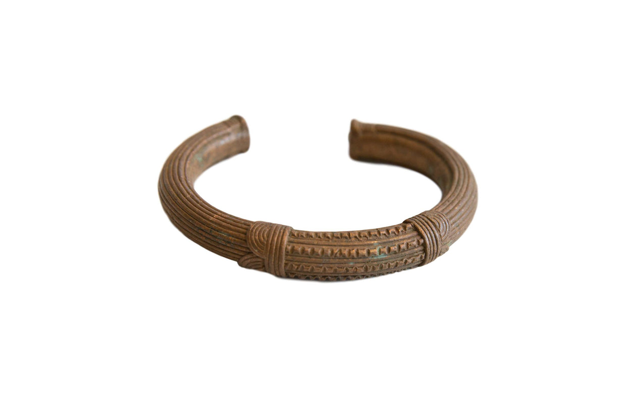 Antique African Copper Cuff Bracelet with Geometric Detailing // ONH Item ab01175