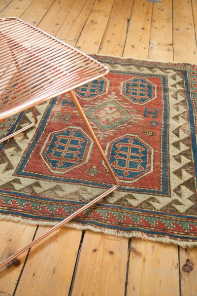 Antique Kazak Square Rug