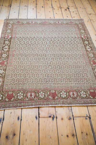 4x5 Antique Tabriz Square Rug - Old New House