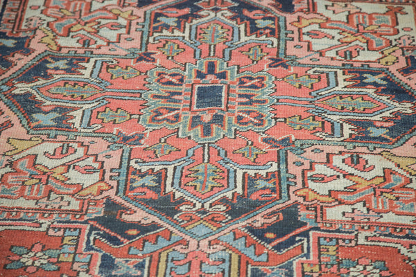 7x9.5 Distressed Heriz Carpet - Old New House