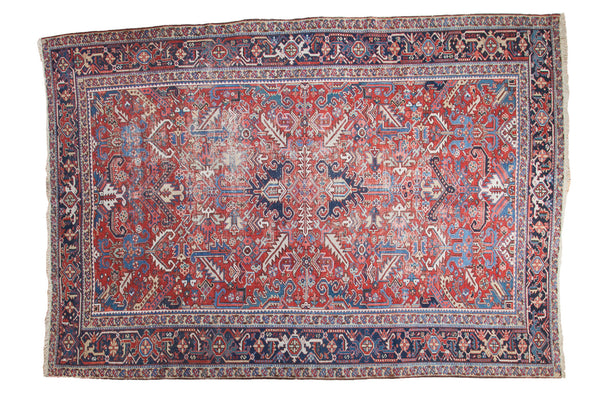 8x11 Distressed Heriz Carpet - Old New House