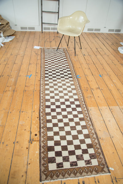 2x9.5 Vintage Checkered Oushak Rug Runner - Old New House
