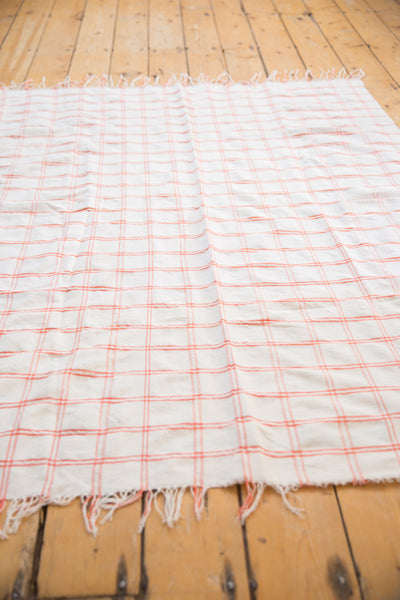 Vintage Moroccan Plaid Textile Throw Rug