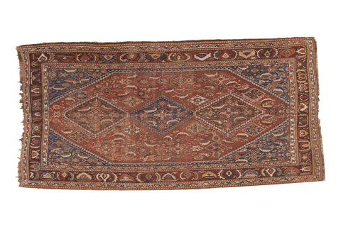Antique Distressed Qashqai Carpet