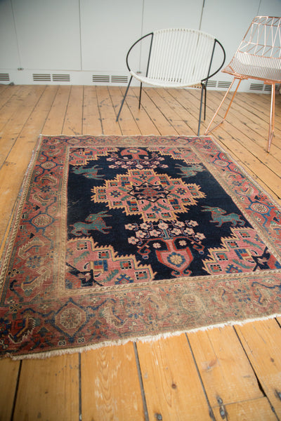 Distressed Antique Afshar Square Rug