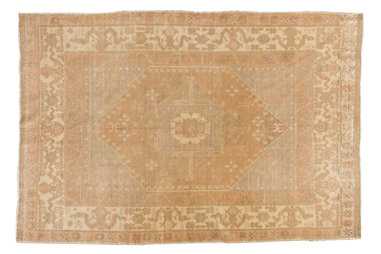 5.5x8.5 Vintage Distressed Oushak Carpet // ONH Item ee003118