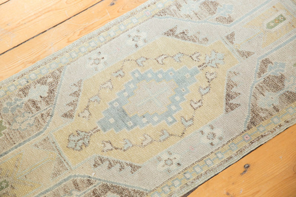 Vintage Distressed Oushak Rug Mat Runner