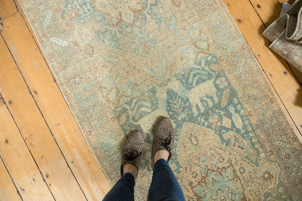 Vintage Distressed Heriz Rug Runner / Item ee003496 image 2