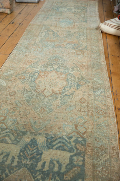 Vintage Distressed Heriz Rug Runner / Item ee003496 image 4