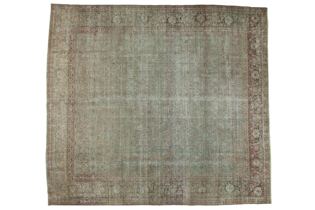 Vintage Distressed Tabriz Square Carpet / ONH item ee003635