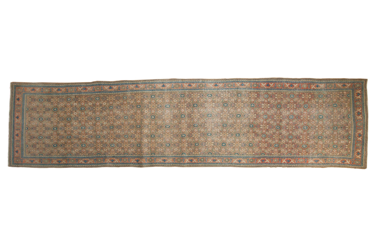 3.5x14 Vintage Distressed Bijar Rug Runner // ONH Item ee003992