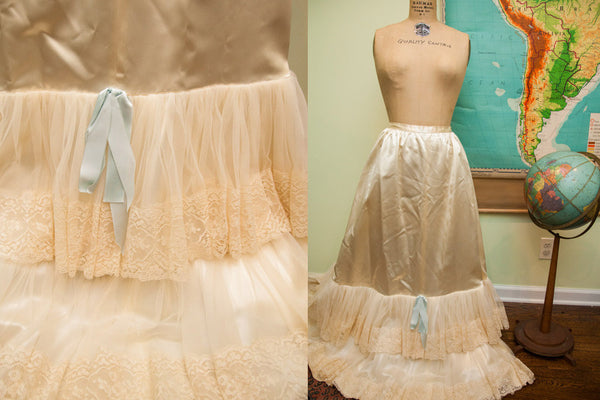 Fancy Vintage 50s Bridal Slip Petticoat - Old New House