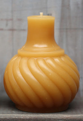 Antique Bottle Beeswax Candle Swirl Inkwell - Old New House