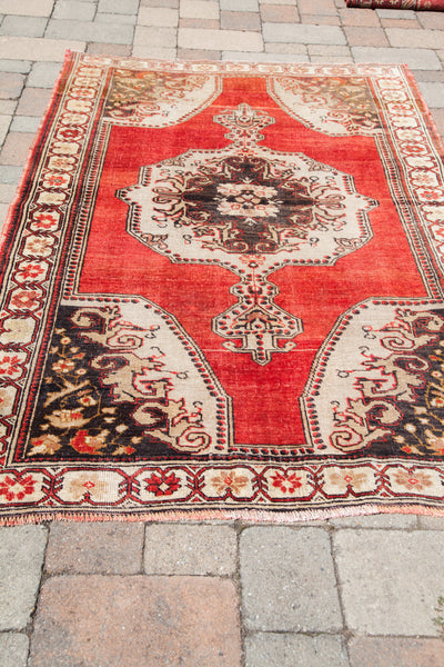 4.5x7 Vintage Rust Oushak Rug - Old New House