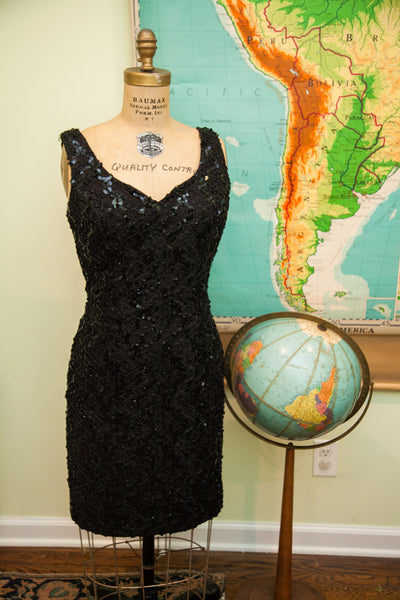 Vintage 80s Little Black Sequin Dress - Old New House