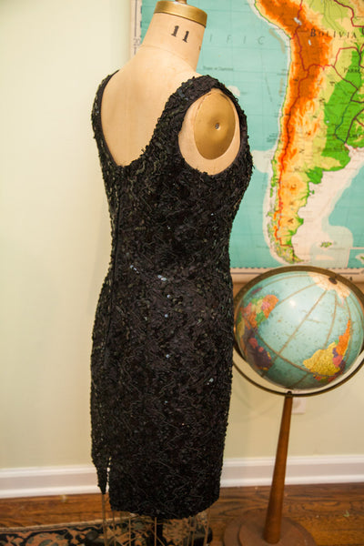 Vintage 80s Little Black Sequin Dress