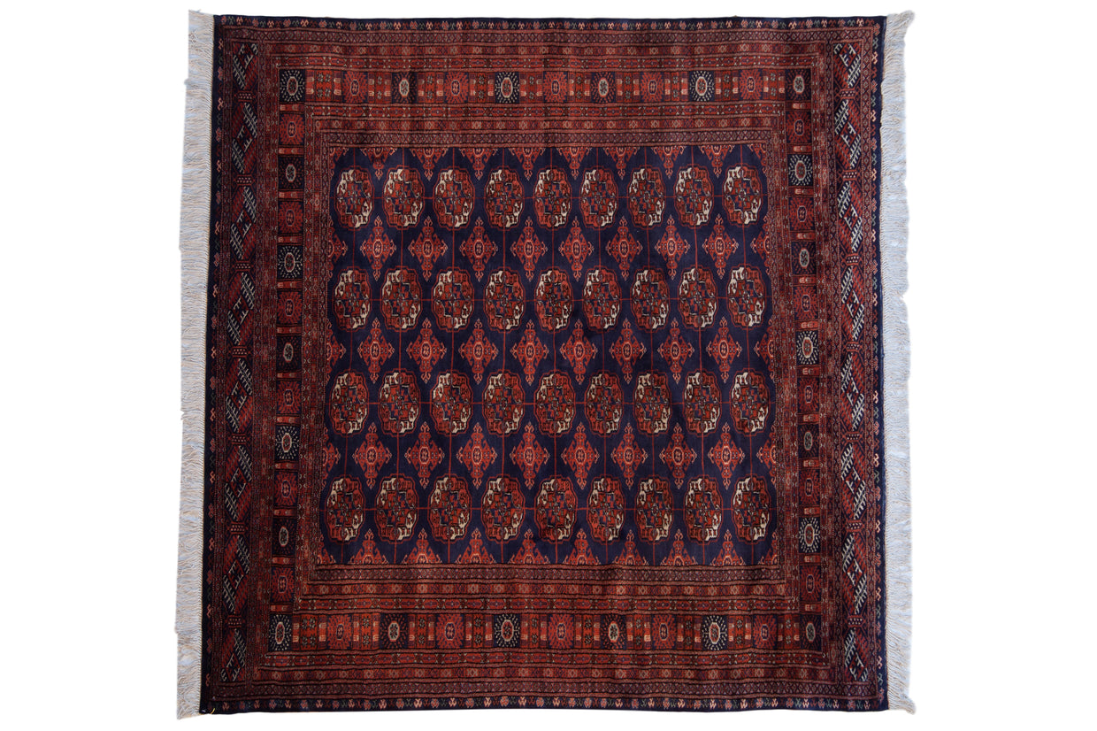 6.5x6.5 Vintage Fine Pakistani Bokhara Design Square Carpet // ONH Item mc001312