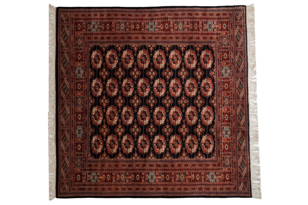 6x6 Vintage Fine Pakistani Bokhara Design Square Carpet // ONH Item mc001359