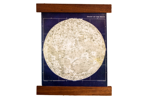 Mini Moon Chart Art Print Canvas Navy and Ivory