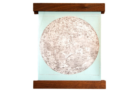 Mini Moon Chart Art Print Canvas Light Aqua