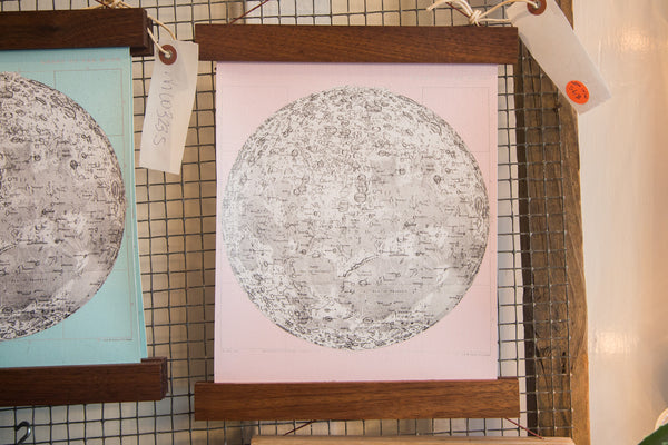 Mini Moon Chart Art Print Canvas Ballerina Pink