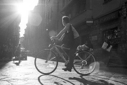 Florence Italy Biker in Sunlight Original Photograph - Old New House