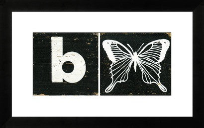 Mid Century Alphabet Block Art B is for Butterfly