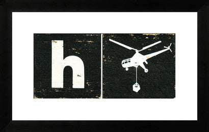 Mid Century Alphabet Block Art H is for Helicopter