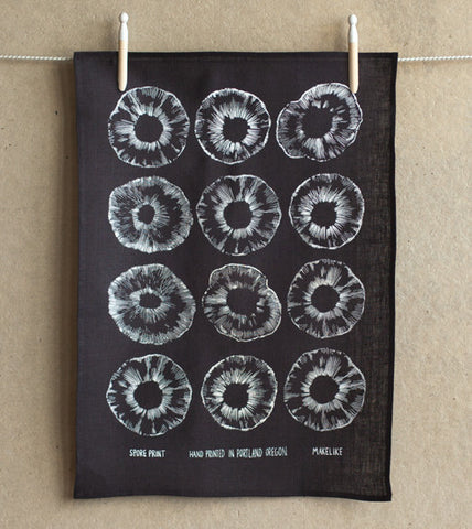 Made in USA Black and White Hand Printed Tea Towel - Old New House