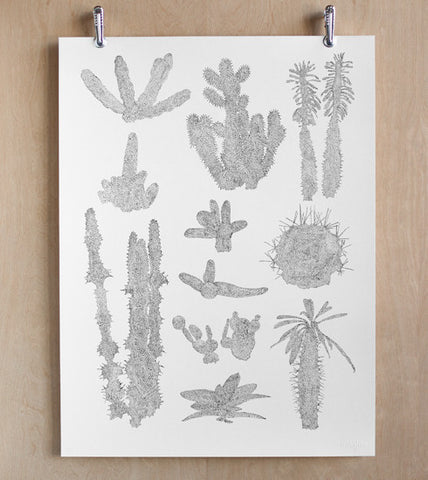 Minimalistic Makelike Cactus in Dots Poster