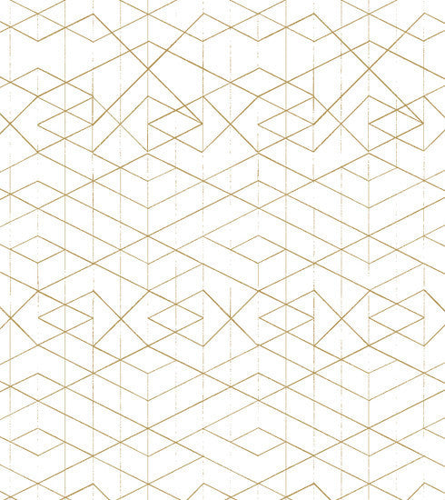 Geometric Wallpaper Gold on White - Old New House
