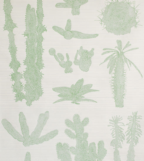 Light Grey and Green Cactus Wallpaper - Old New House