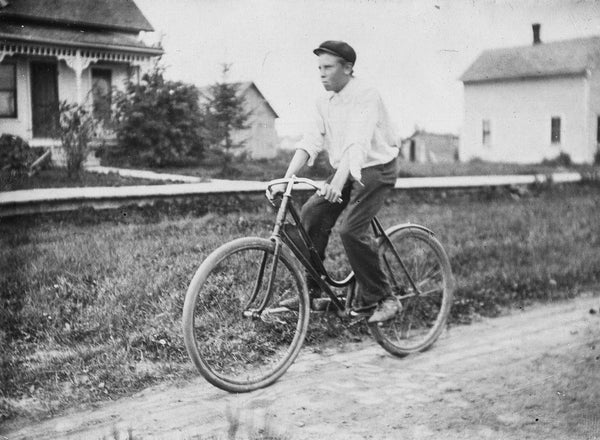 Antique Experimental Photograph Revival, Riding a Bike - Old New House