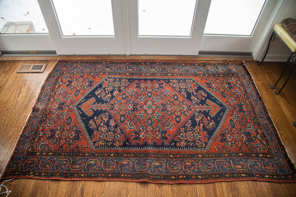 4x7 Vintage Tribal Area Rug