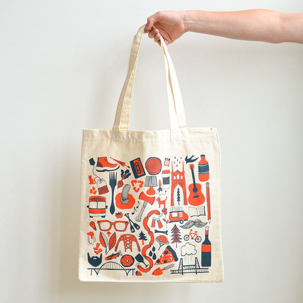 Portland, OR - PDX Graphic Tote Bag - Old New House