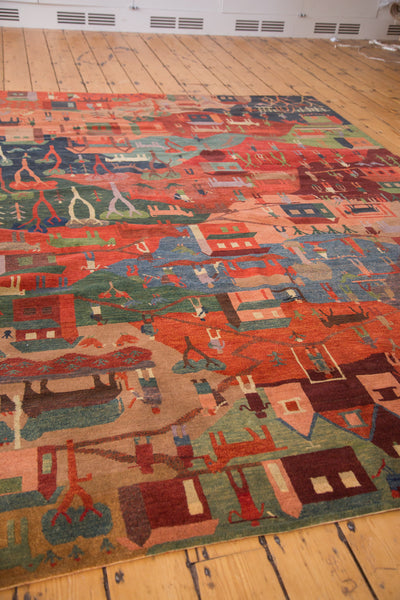 Plush hand knotted pictorial Tibetan folk art carpet 6x9